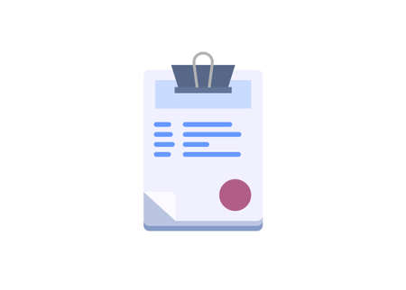 Paperwork stack. Administration item. Simple flat illustration.