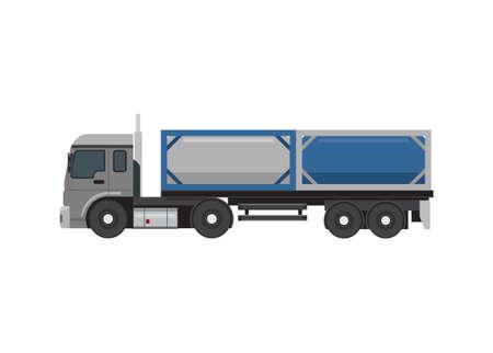 Tanktainer truck. Simple flat illustration Ilustracja
