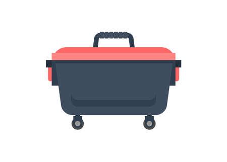 Tool box with wheel. Simple flat illustration. Ilustracja