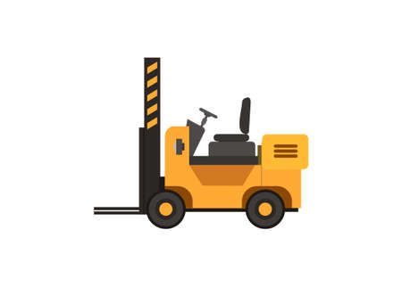 Forklift without cab roof. Simple flat illustration