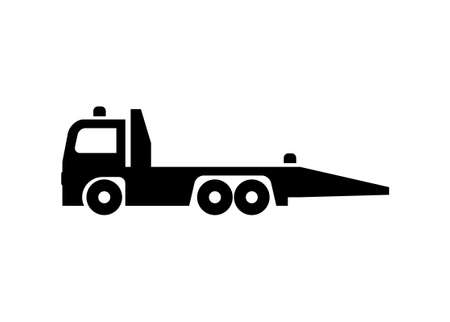 Towing truck. Simple illustration in black and white