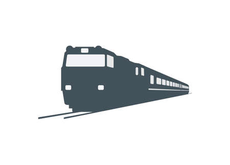 Passenger train with double cabin electric diesel locomotive. Silhouette style with perspective view.