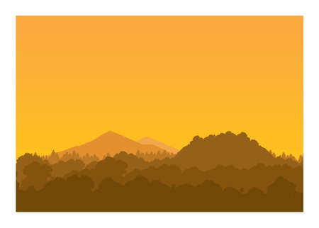 Forest, hill, and mountain peak. Simple silhouette illustration
