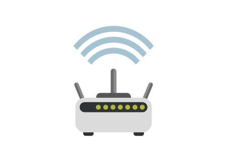 Wi fi router box. Simple flat illustration Ilustracja