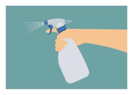 Hand holding sprayer. Simple flat illustration Ilustracja