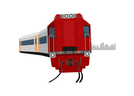 Passenger train turning left. Simple flat illustration Ilustracja