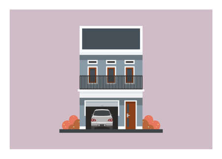 Two storey house building with garage. Simple flat illustration.