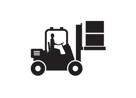 Forklift lifting boxes with the driver inside the cab. Simple illustration in black and white.