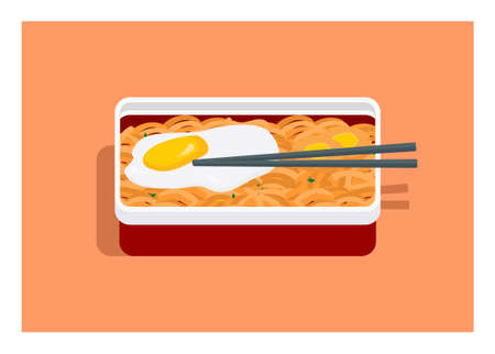 Lunch box contains fried noodle with extra fried egg.