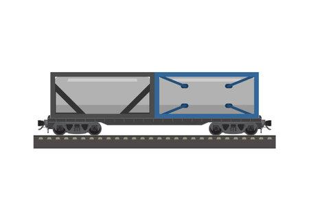Tank tainer train wagon. Simple flat illustration