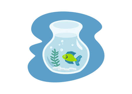Decorative fish inside a fishbowl. Simple flat illustration Ilustracja
