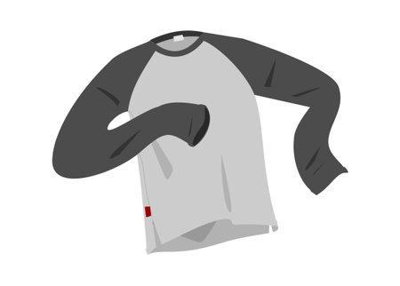 Long black sleeve t-shirt. Simple flat illustration