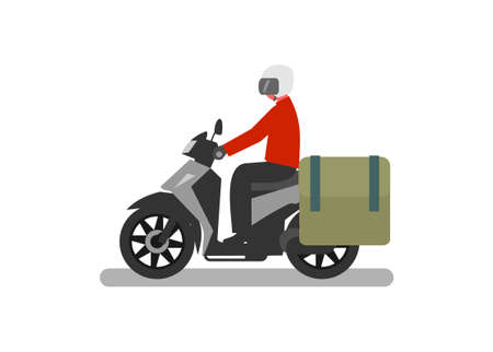 Courier riding automatic motorcycle with side bag. Simple flat illustration