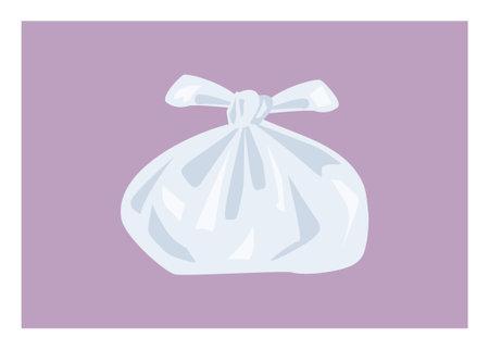 Tied plastic bag. Simple flat illustration