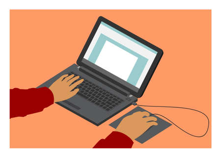 Hand typing laptop in isometric view. Simple flat illustration