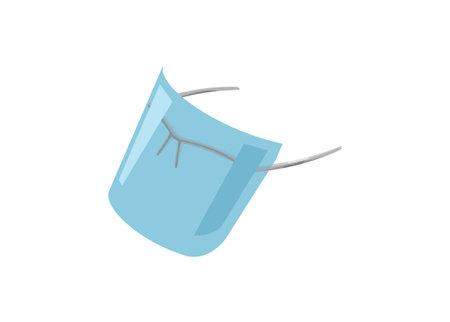 Eyeglasses face shield. Simple flat illustration.
