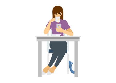Girl drinking while holding smartphone. Simple flat illustration Ilustração