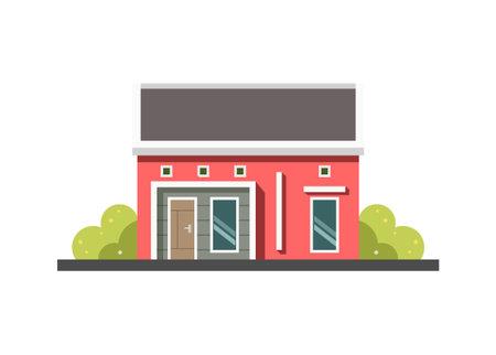 Small minimalist house building. Simple flat illustration