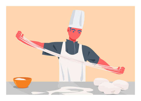 Male chef pulling handmade noodle. Simple flat illustration Ilustração