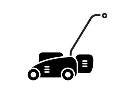 Lawn mower. Simple illustration in black and white