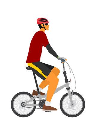 Man riding folding bike. Simple flat illustration. Ilustração