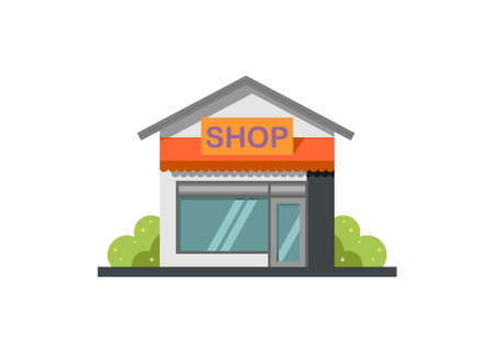 Small shop house building. Simple flat illustration.