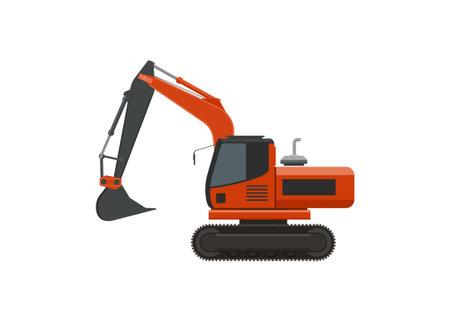 Excavator vehicle. Simple flat illustration