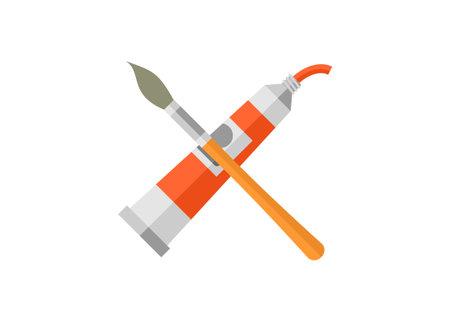 Paint tube and brush. Simple flat illustration
