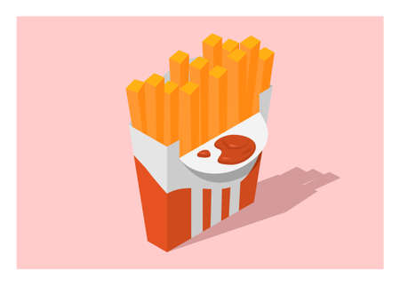 French fries with tomato sauce simple flat illustration in isometric view. Ilustração