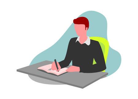 A boy writing on a book. Simple flat illustration Ilustração