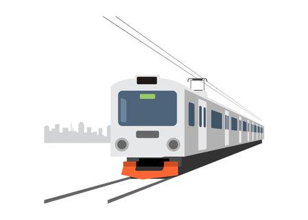 Electric commuter train. Simple flat illustration