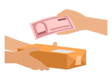 Cash on delivery. Simple flat illustration Illustration