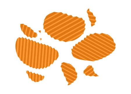 Potato curly chips. Simple flat illustration.