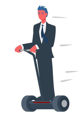 Businessman riding hoverboard. Simple flat illustration