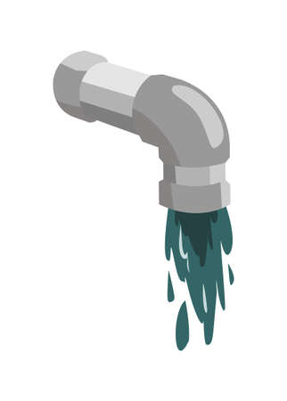 Sewer pipe and waste water. Simple flat ilustration