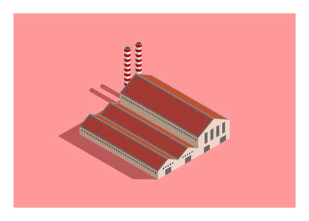 Factory building Simple illustration in isometric view.