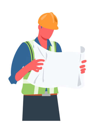 Project manager reading draft paper Simple flat illustration Illustration