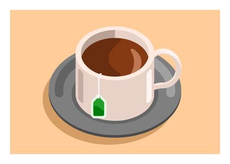 A cup of tea Simple flat illustration