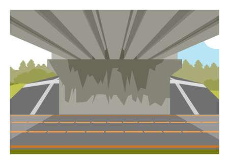 Under the bridge view Simple flat illustration