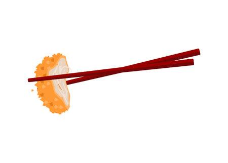 Clamping crispy meat slice with chopstick. Simple flat illustration Illustration