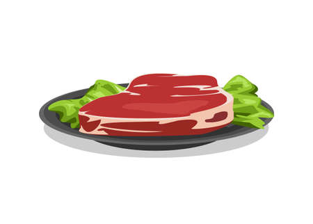 Fresh raw meat slice on a plate. Simple flat illustration
