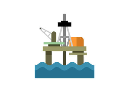 Offshore oil rig. Simple flat illustration.