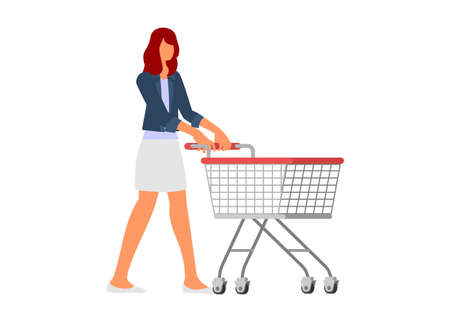 Young woman pushing empty trolley. Simple flat illustration. Ilustração