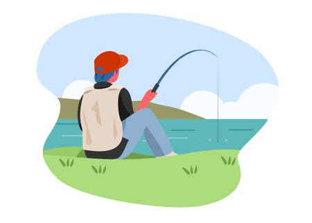 People fishing. Simple flat illustration