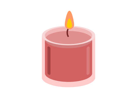 Candle in the cup. Simple flat illustration