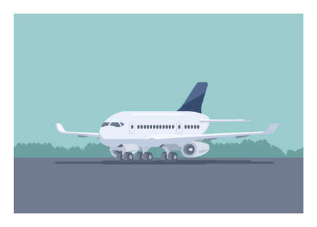 Airplane stops on the runway. Simple flat illustration