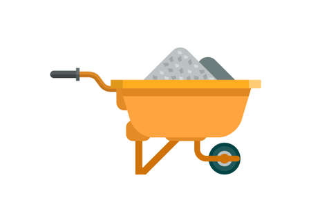 Trolley contains material building. Simple flat illustration