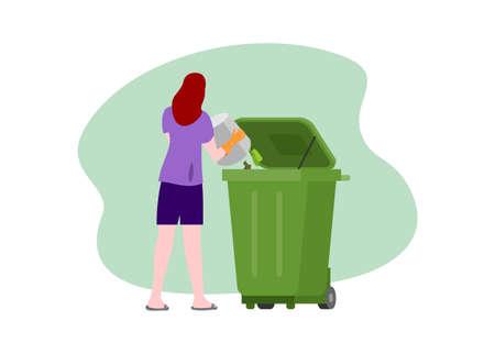 Woman trowing garbage to the garbage bin. Simple flat illustration