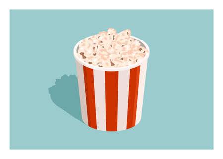 Popcorn in bucket container. Simple flat illustration Ilustração