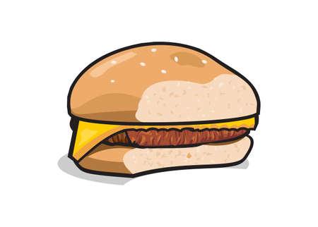Bitten cheeseburger. Simple flat illustration
